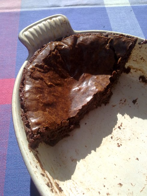 Posh chocolate brownies in a Le Creuset dish