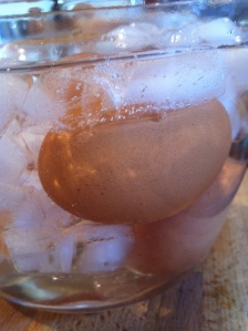 Eggs in icy water