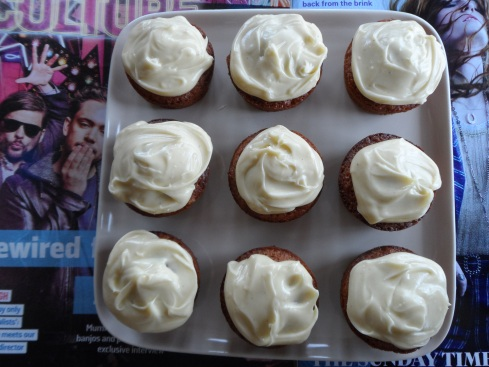 The artisanal approach, smooshing gin and white choc icing on top mini pear cakes