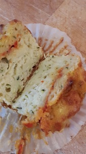 Cheesy courgette muffins with red pepper surprise